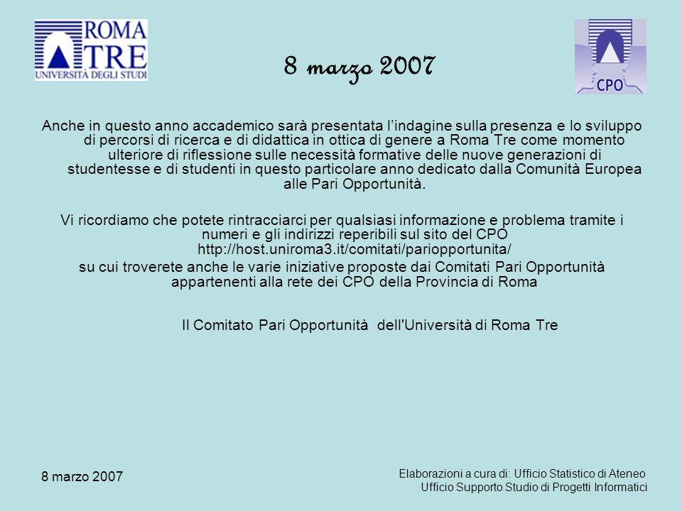 8 marzo 2007 Personale Docente per ruolo e classe di età Fonte: sistema CSA di Ateneo; dati al 14 febbraio 2007; sono esclusi 6 prof.