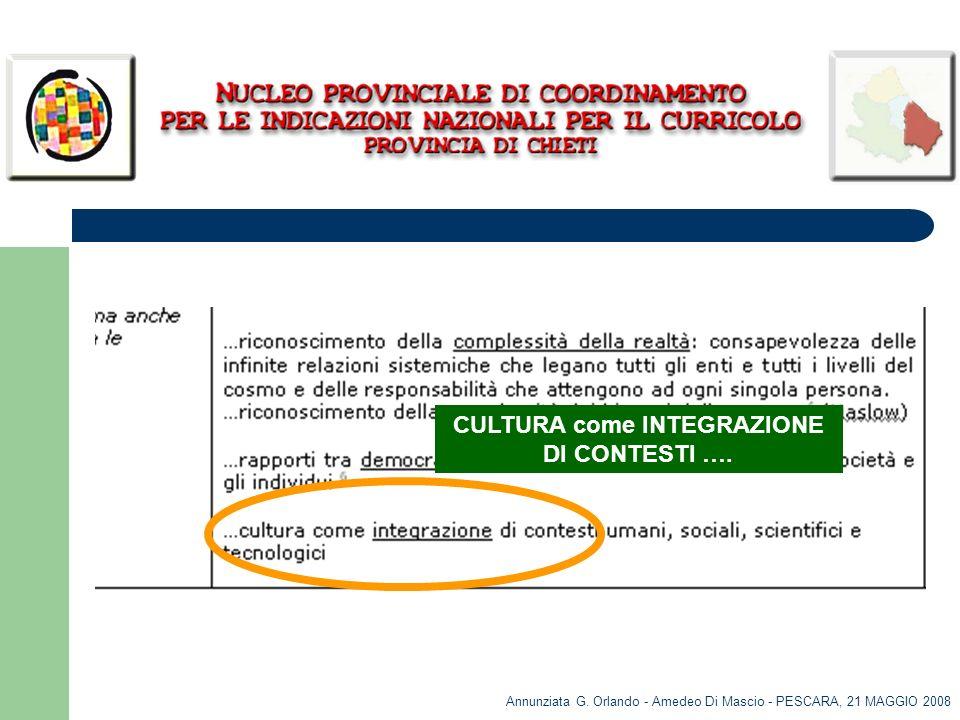 Annunziata G. Orlando - Amedeo Di Mascio - PESCARA, 21 MAGGIO 2008 CULTURA come INTEGRAZIONE DI CONTESTI ….