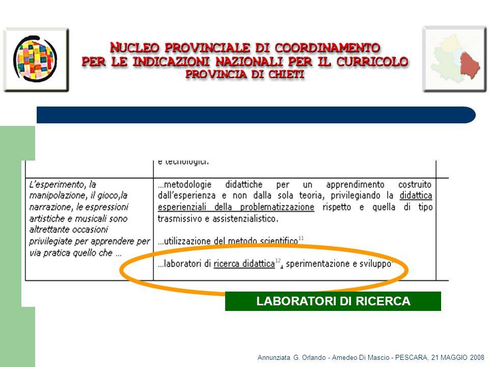 Annunziata G. Orlando - Amedeo Di Mascio - PESCARA, 21 MAGGIO 2008 LABORATORI DI RICERCA