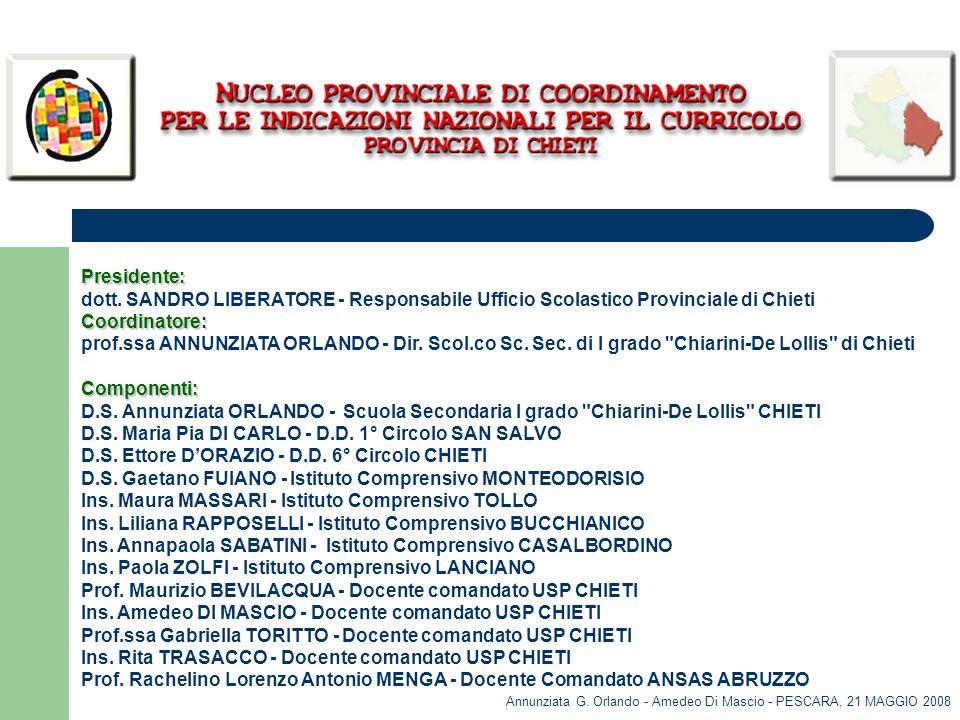 Presidente: dott. SANDRO LIBERATORE - Responsabile Ufficio Scolastico Provinciale di Chieti Coordinatore: prof.ssa ANNUNZIATA ORLANDO - Dir. Scol.co S