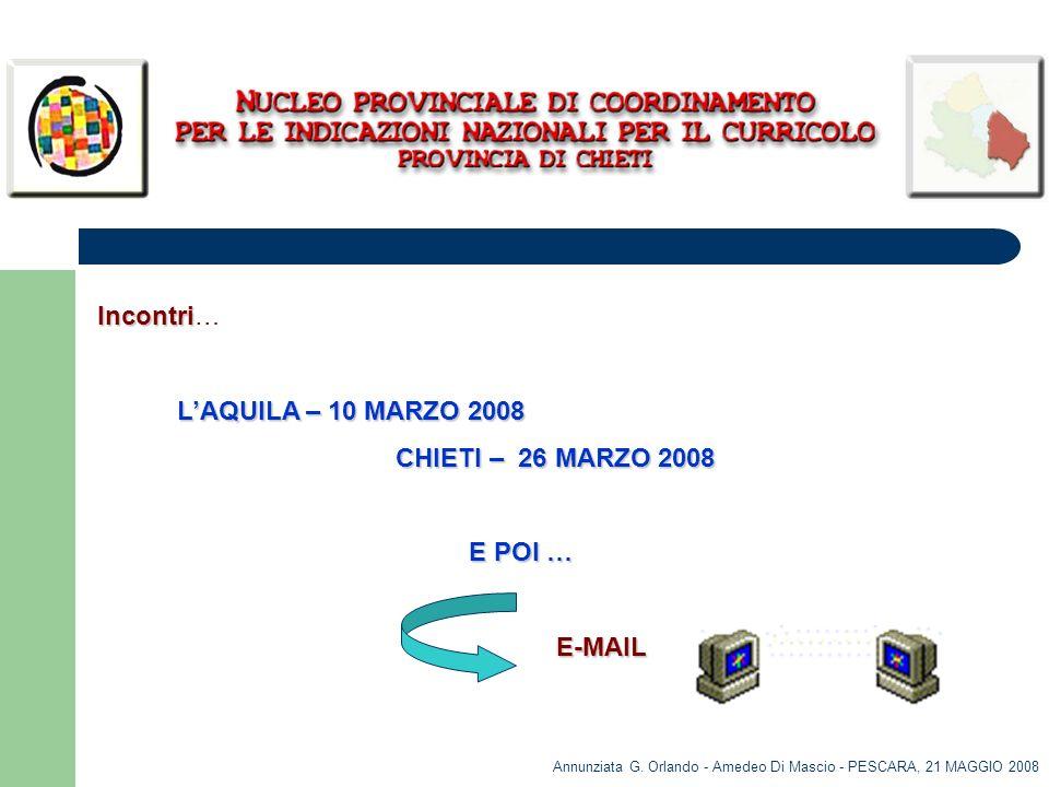 Annunziata G. Orlando - Amedeo Di Mascio - PESCARA, 21 MAGGIO 2008 Incontri Incontri… LAQUILA – 10 MARZO 2008 LAQUILA – 10 MARZO 2008 CHIETI – 26 MARZ
