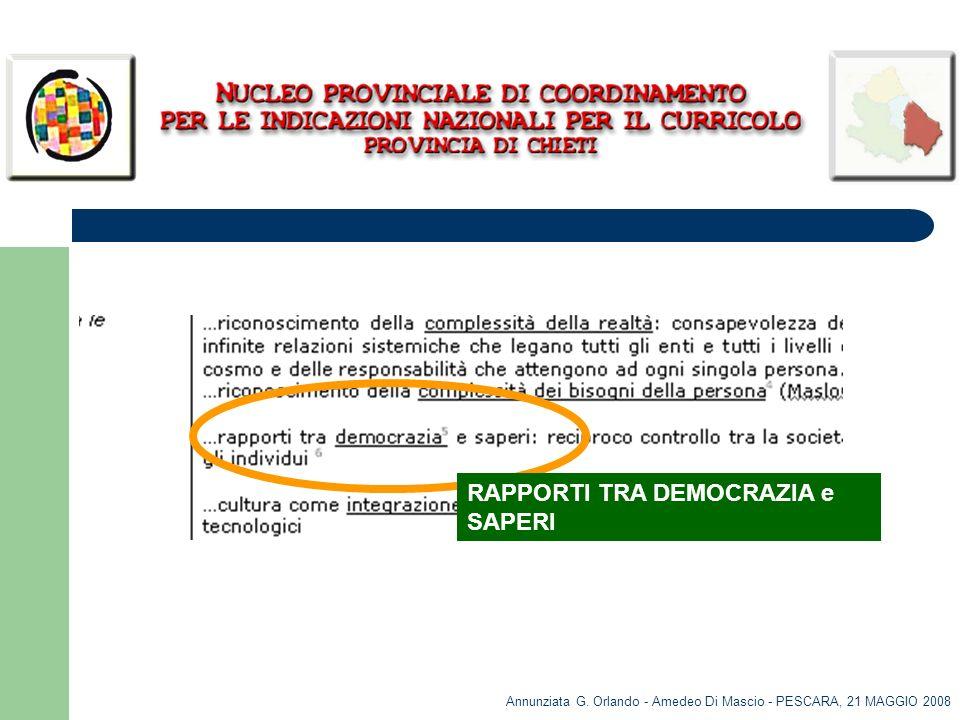 Annunziata G. Orlando - Amedeo Di Mascio - PESCARA, 21 MAGGIO 2008 RAPPORTI TRA DEMOCRAZIA e SAPERI