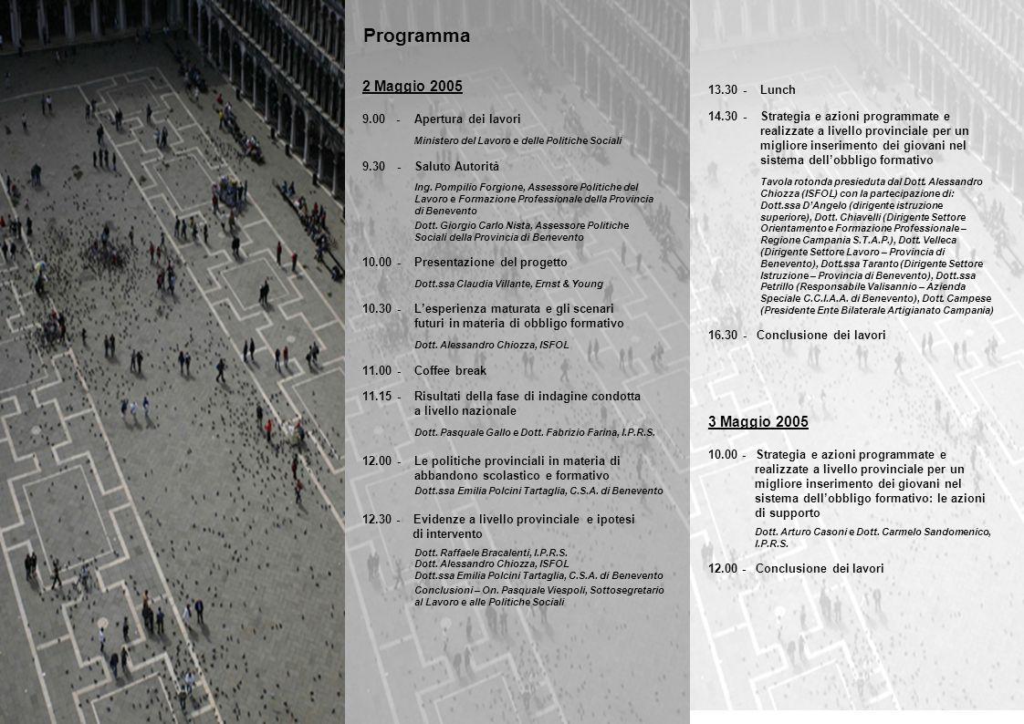 2 Maggio 2005 9.00 - Apertura dei lavori Ministero del Lavoro e delle Politiche Sociali 9.30 - Saluto Autorità Ing.