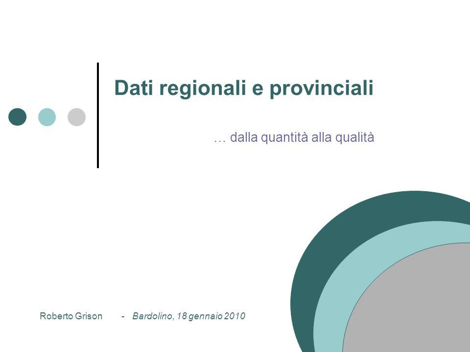 Dati regionali e provinciali … dalla quantità alla qualità Roberto Grison - Bardolino, 18 gennaio 2010