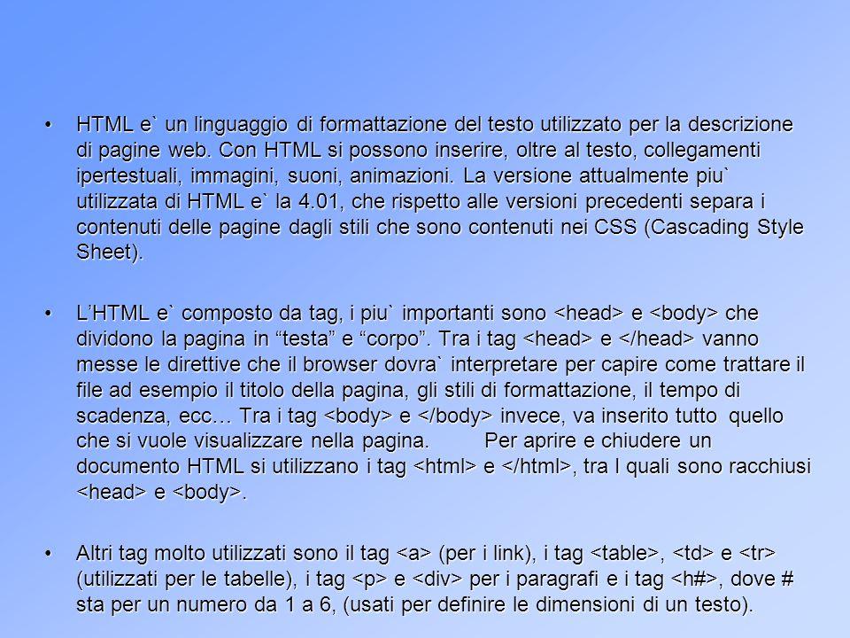I CSS I CSS I CSS (Cascading Style Sheet) vengono utilizzati per definire lo stile di una pagina HTML.