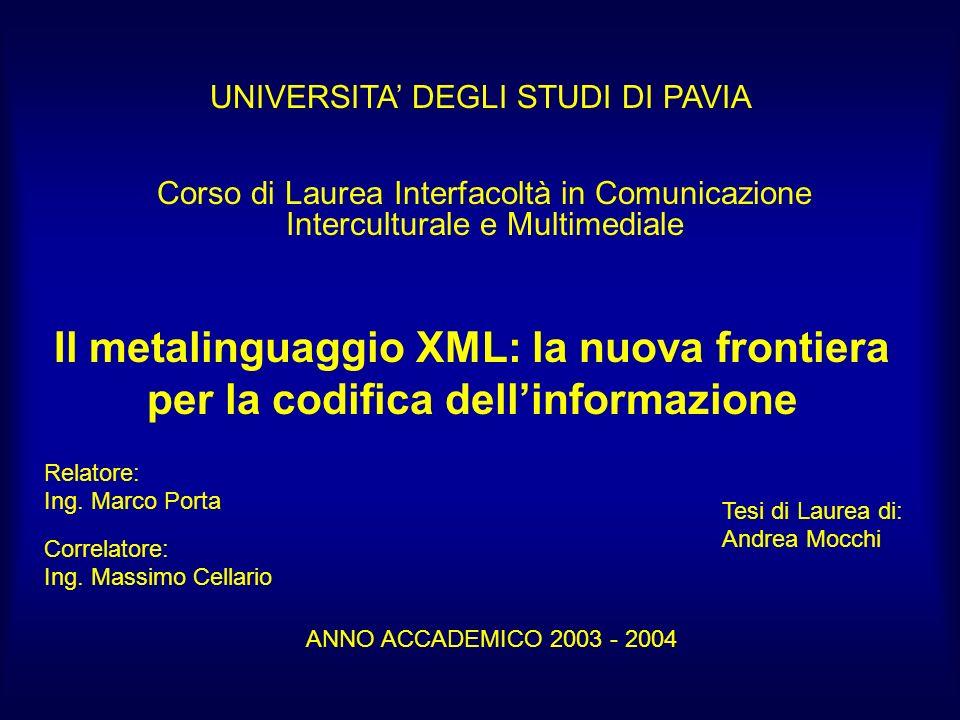 Il metalinguaggio XML: la nuova frontiera per la codifica dellinformazione Relatore: Ing.
