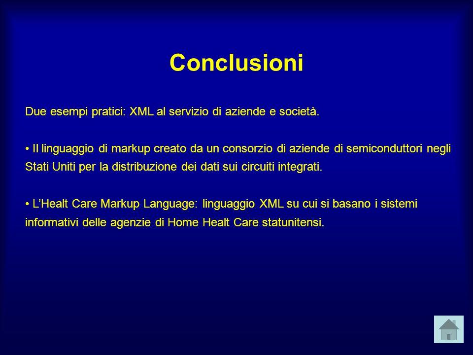 Conclusioni Due esempi pratici: XML al servizio di aziende e società.