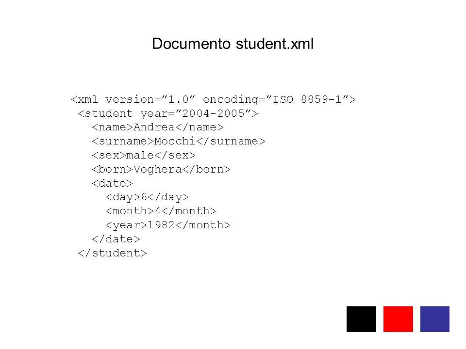 Documento student.xml Andrea Mocchi male Voghera 6 4 1982