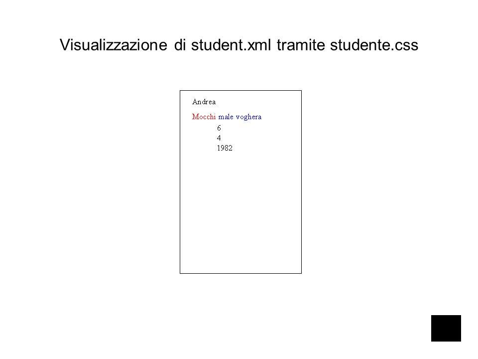 Visualizzazione di student.xml tramite studente.css