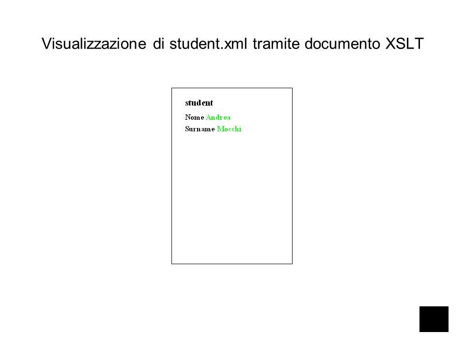 Visualizzazione di student.xml tramite documento XSLT