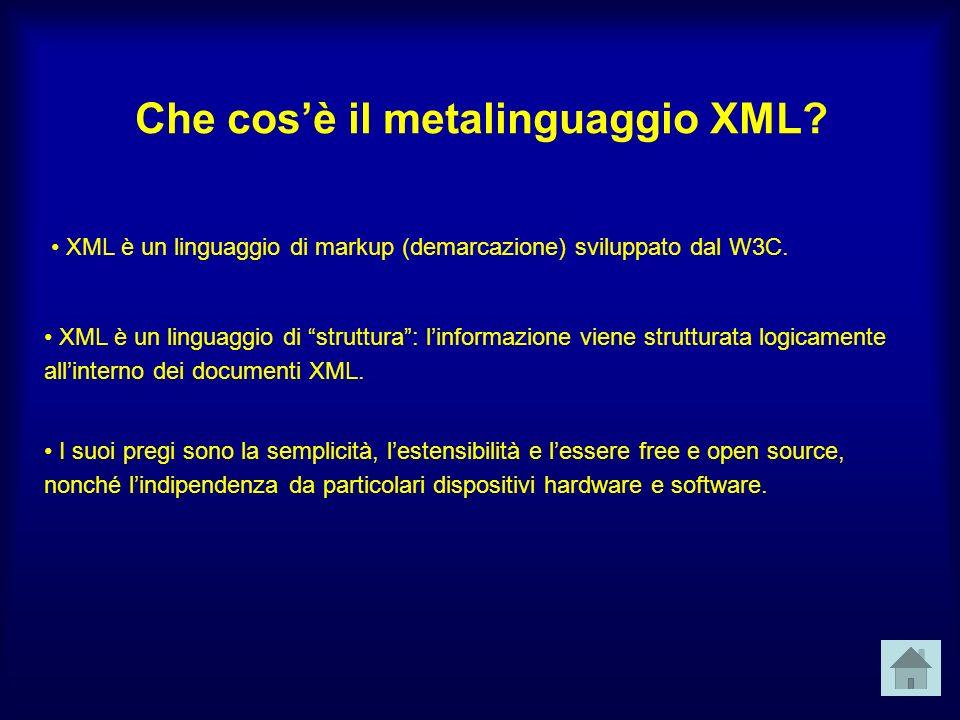 Che cosè il metalinguaggio XML. XML è un linguaggio di markup (demarcazione) sviluppato dal W3C.