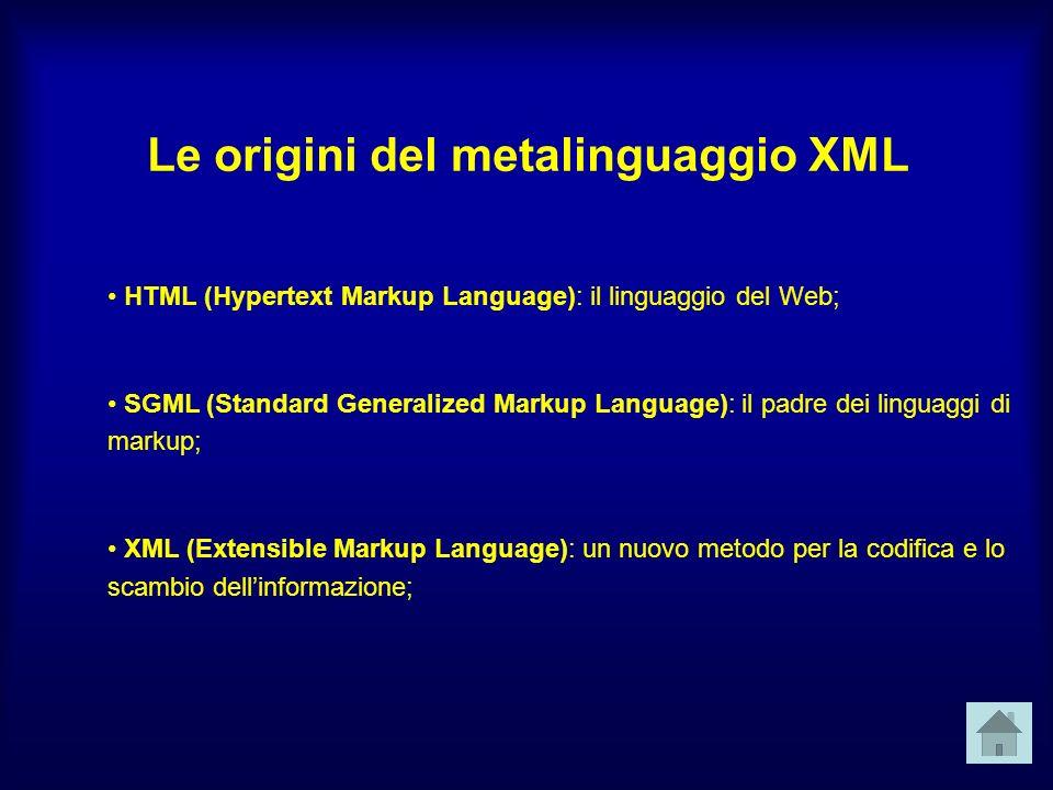 Le origini del metalinguaggio XML HTML (Hypertext Markup Language): il linguaggio del Web; SGML (Standard Generalized Markup Language): il padre dei linguaggi di markup; XML (Extensible Markup Language): un nuovo metodo per la codifica e lo scambio dellinformazione;
