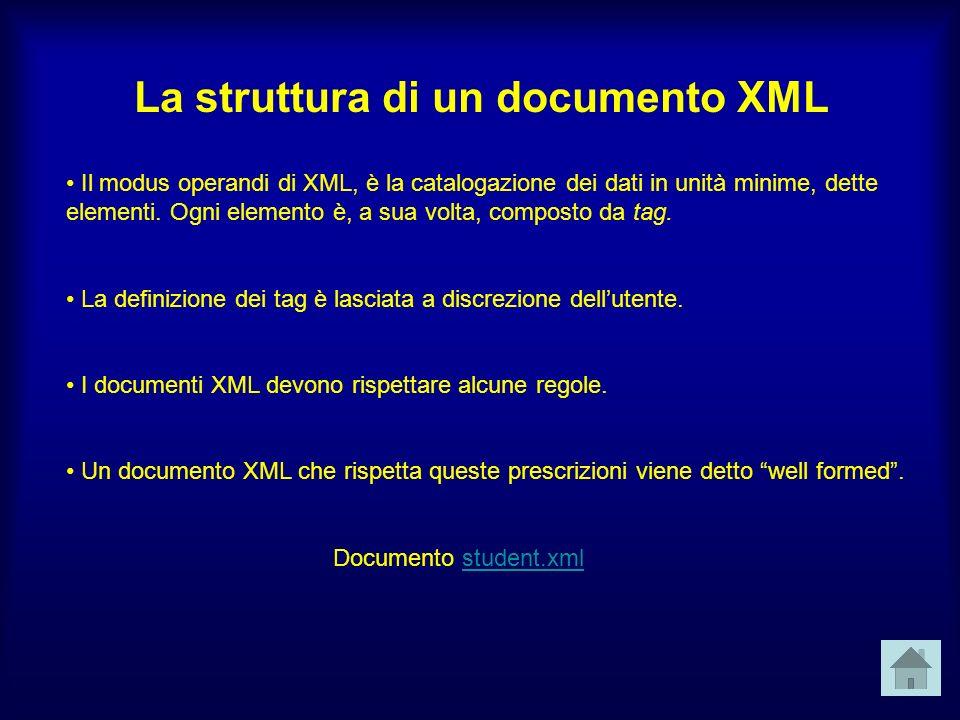 La struttura di un documento XML Il modus operandi di XML, è la catalogazione dei dati in unità minime, dette elementi.
