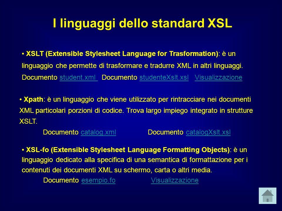 XSLT (Extensible Stylesheet Language for Trasformation): è un linguaggio che permette di trasformare e tradurre XML in altri linguaggi.