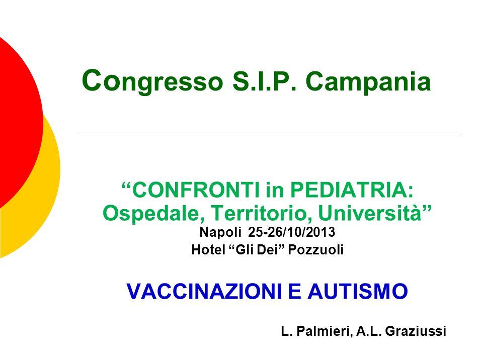 Co ngresso S.I.P. Campania CONFRONTI in PEDIATRIA: Ospedale, Territorio, Università Napoli 25-26/10/2013 Hotel Gli Dei Pozzuoli VACCINAZIONI E AUTISMO