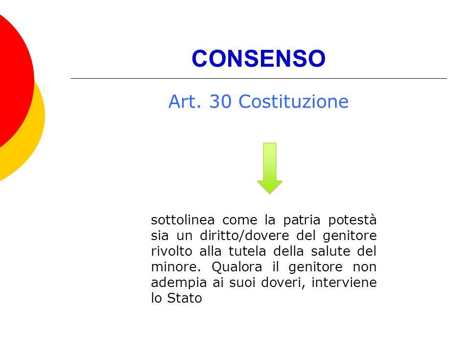 CONSENSO Art. 30 Costituzione sottolinea come la patria potestà sia un diritto/dovere del genitore rivolto alla tutela della salute del minore. Qualor