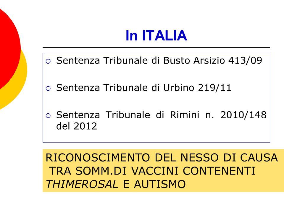 In ITALIA Sentenza Tribunale di Busto Arsizio 413/09 Sentenza Tribunale di Urbino 219/11 Sentenza Tribunale di Rimini n. 2010/148 del 2012 RICONOSCIME