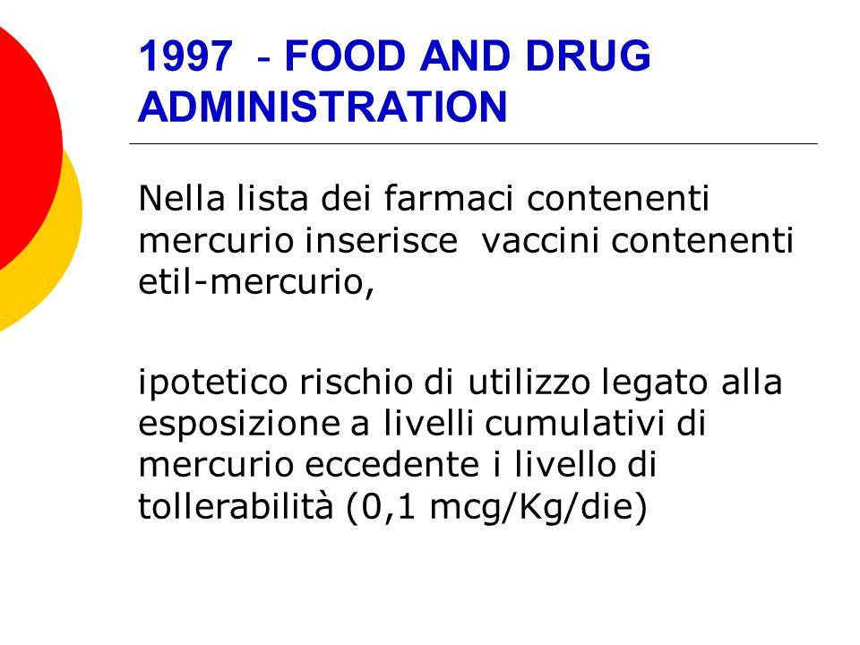 1997 - FOOD AND DRUG ADMINISTRATION Nella lista dei farmaci contenenti mercurio inserisce vaccini contenenti etil-mercurio, ipotetico rischio di utili