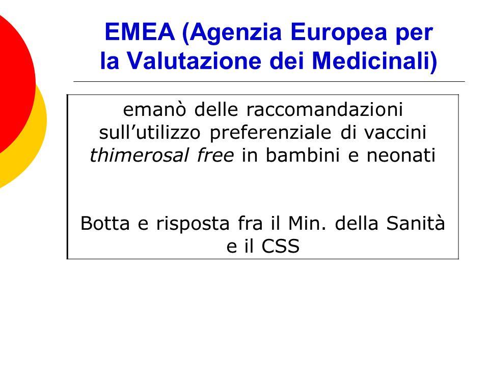 EMEA (Agenzia Europea per la Valutazione dei Medicinali) emanò delle raccomandazioni sullutilizzo preferenziale di vaccini thimerosal free in bambini