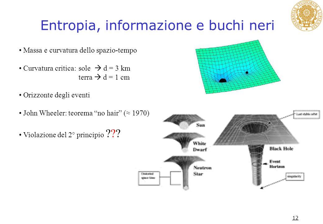 Entropia, informazione e buchi neri 12 Massa e curvatura dello spazio-tempo Curvatura critica: sole d = 3 km terra d = 1 cm Orizzonte degli eventi Joh