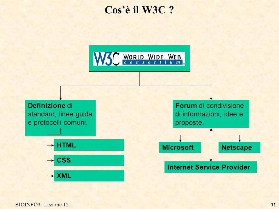 BIOINFO3 - Lezione 1211 Cosè il W3C . Definizione di standard, linee guida e protocolli comuni.