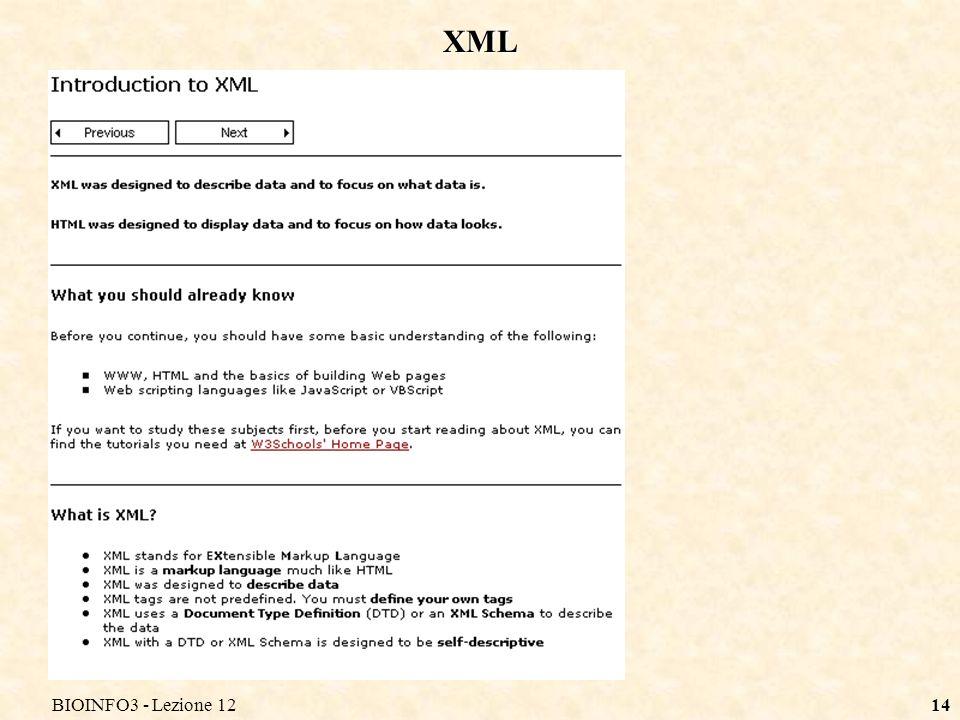 BIOINFO3 - Lezione 1214 XML