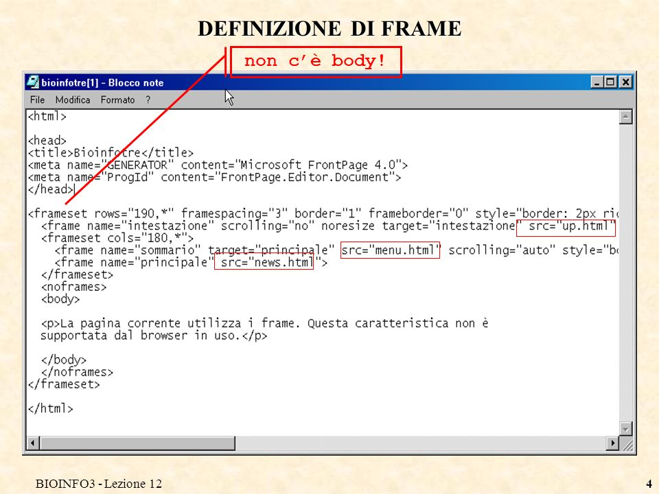 BIOINFO3 - Lezione 124 DEFINIZIONE DI FRAME non cè body!