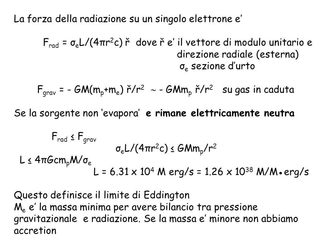 Evidenza della presenza di un Buco Nero: Origine energia solo gravitazionale Bilancio radiazione – gravita flusso di energia uscente a r dal centro e: