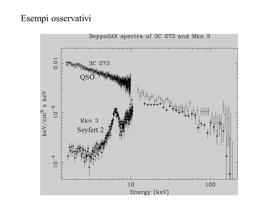 Esempi di AGN con diversi gradi di oscuramento logN H <24 Compton-thin logN H >24 Compton thick Il gas freddo presente nel toro contribuisce allemissi