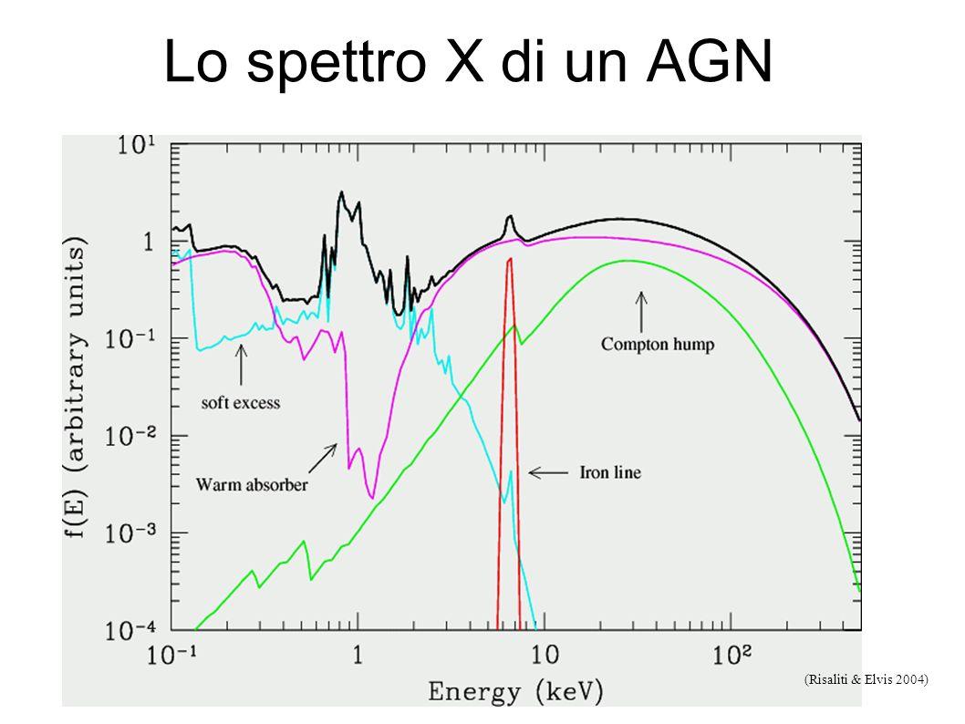 Componenti principali spettro X-ray di un accreting non oscurato BH: Rosso: soft quasi-thermal da accretion disc; verde: legge di potenza da IC soft X
