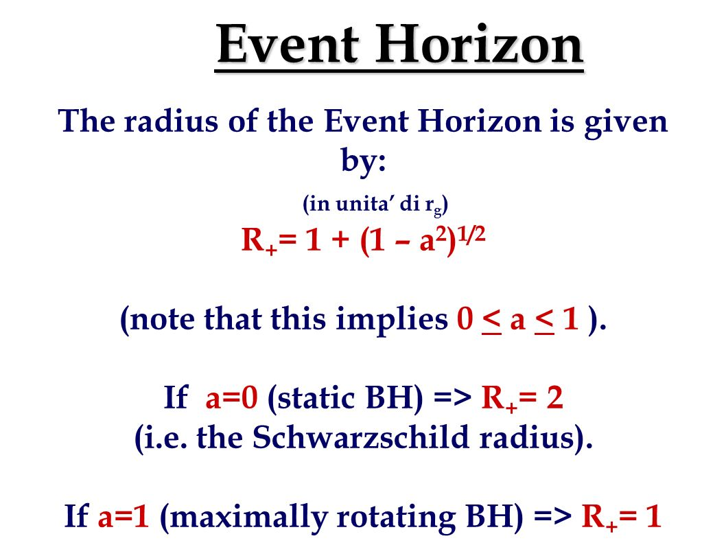 Definitions r g =GM/c 2 is the gravitational radius. In the following, all distances will be given in units of r g a=Jc/GM 2 is the adimensional angul