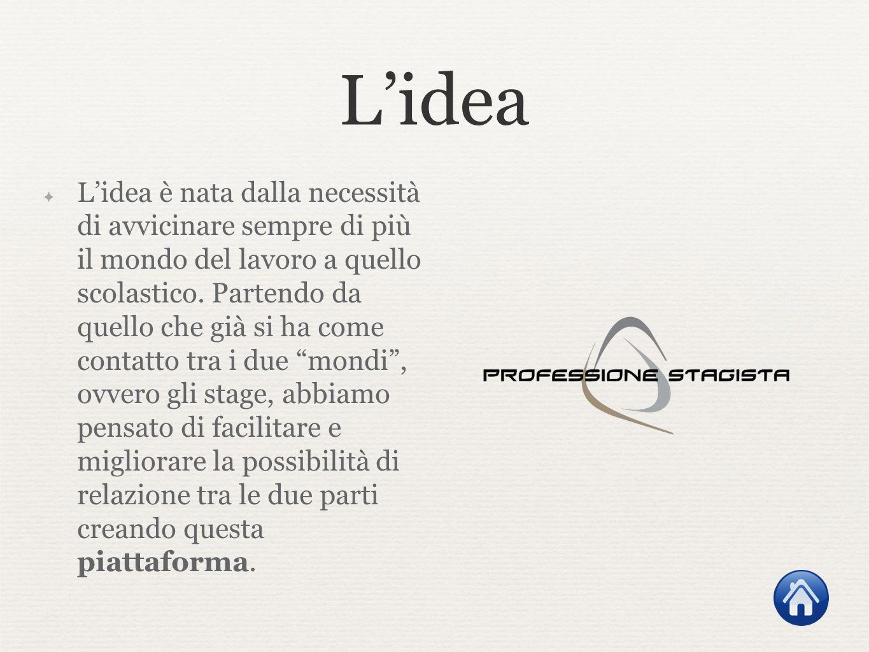 Lidea Lidea è nata dalla necessità di avvicinare sempre di più il mondo del lavoro a quello scolastico. Partendo da quello che già si ha come contatto