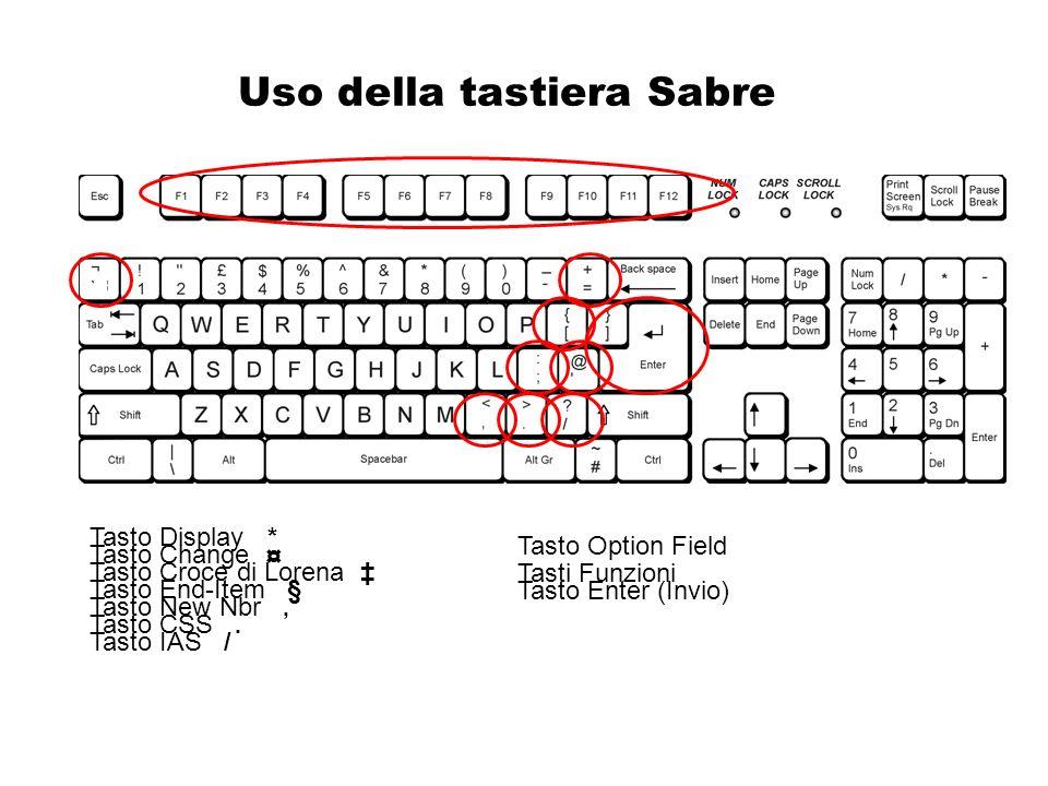 Uso della tastiera Sabre Tasto Change ¤ Tasto Croce di Lorena Tasto End-Item § Tasto New Nbr, Tasto CSS. Tasto IAS / Tasto Display * Tasto Option Fiel