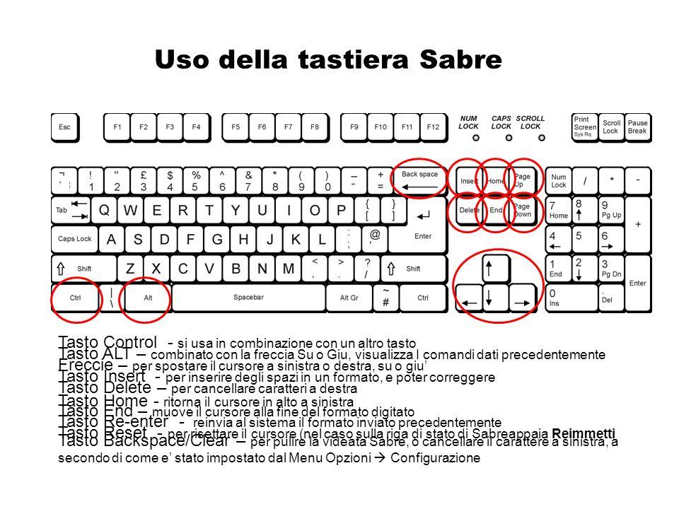 Uso della tastiera Sabre Tasto Control - si usa in combinazione con un altro tasto Tasto ALT – combinato con la freccia Su o Giu, visualizza I comandi