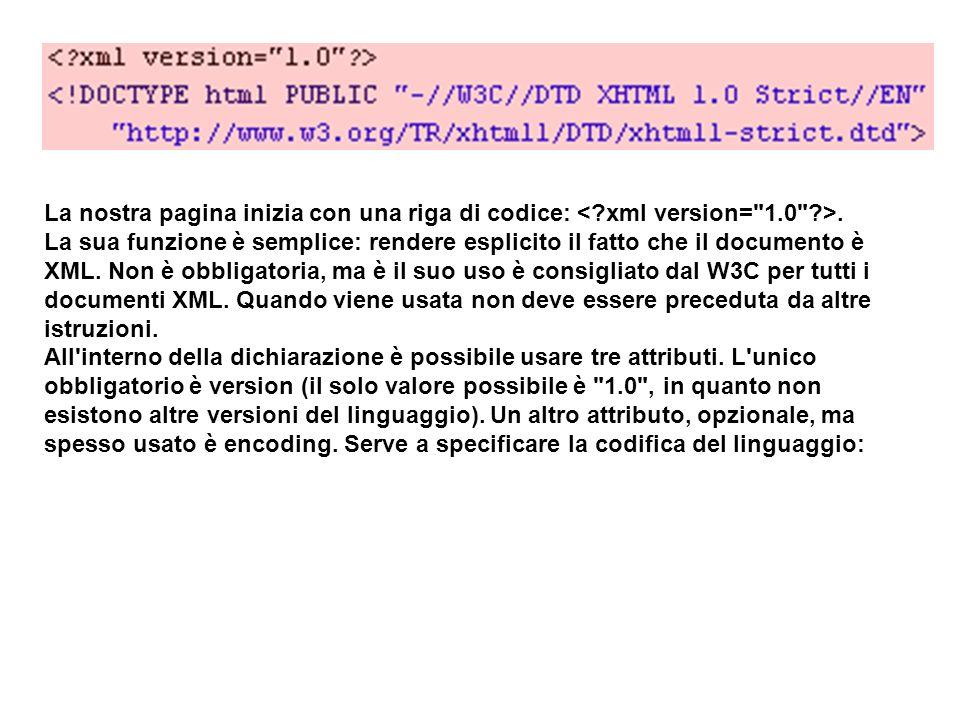 La nostra pagina inizia con una riga di codice:.