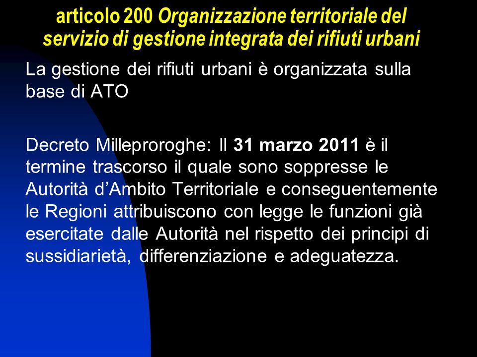 articolo 200 Organizzazione territoriale del servizio di gestione integrata dei rifiuti urbani La gestione dei rifiuti urbani è organizzata sulla base
