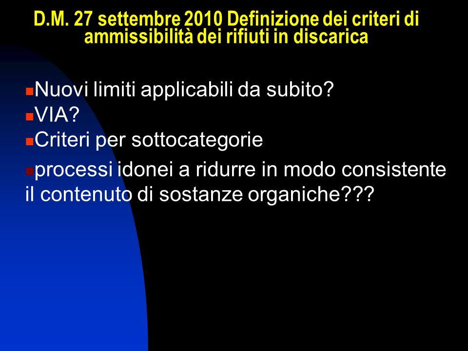 D.M. 27 settembre 2010 Definizione dei criteri di ammissibilità dei rifiuti in discarica Nuovi limiti applicabili da subito? VIA? Criteri per sottocat