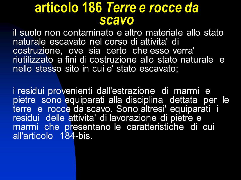 articolo 186 Terre e rocce da scavo il suolo non contaminato e altro materiale allo stato naturale escavato nel corso di attivita' di costruzione, ove