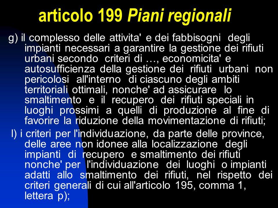 articolo 199 Piani regionali g) il complesso delle attivita' e dei fabbisogni degli impianti necessari a garantire la gestione dei rifiuti urbani seco