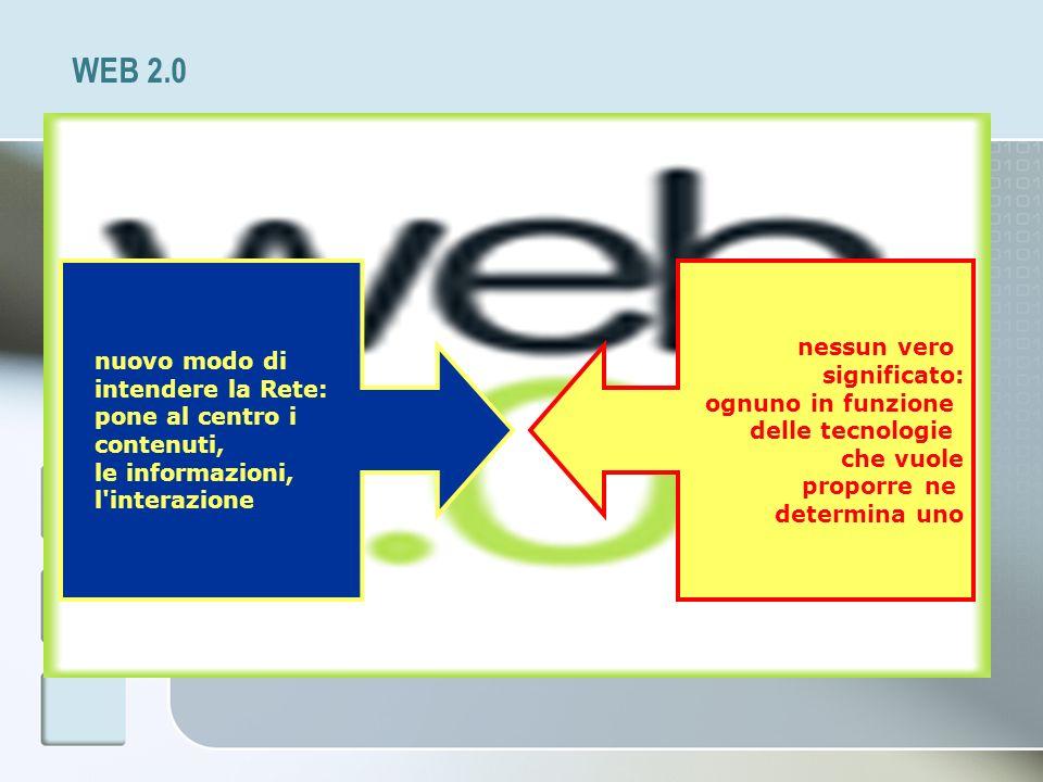WEB 2.0 nuovo modo di intendere la Rete: pone al centro i contenuti, le informazioni, l'interazione nessun vero significato: ognuno in funzione delle
