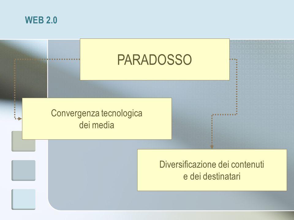 WEB 2.0 PARADOSSO Convergenza tecnologica dei media Diversificazione dei contenuti e dei destinatari