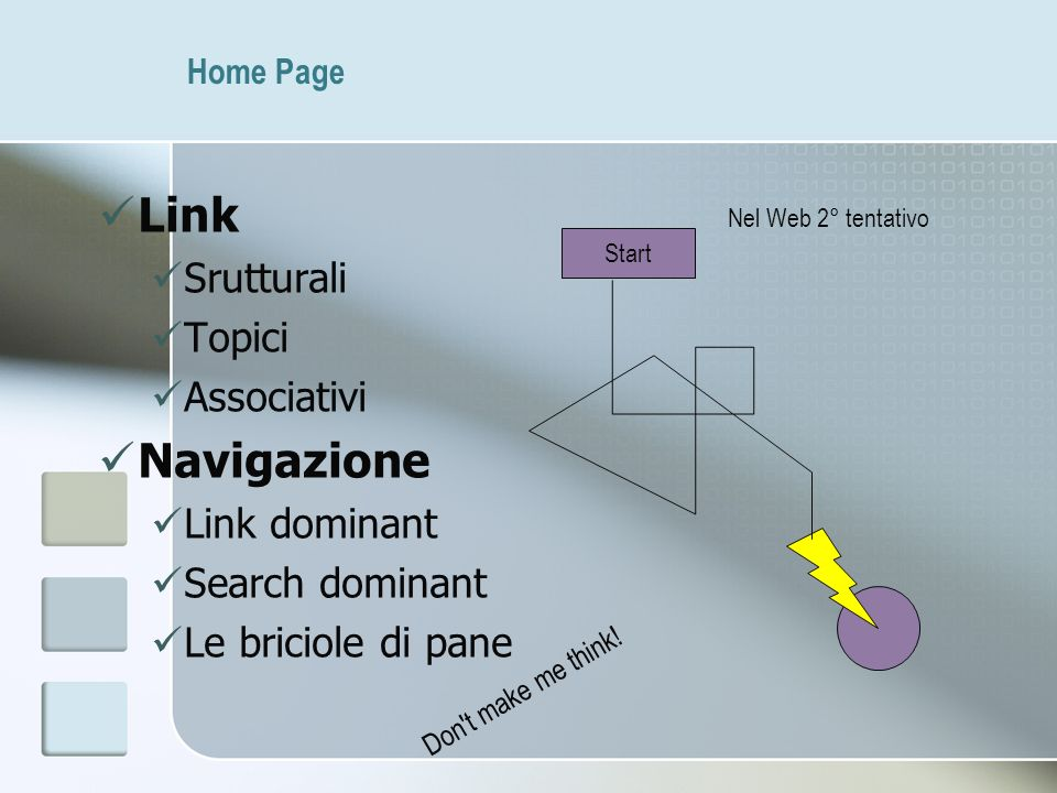 Home Page Link Srutturali Topici Associativi Navigazione Link dominant Search dominant Le briciole di pane Start Nel Web 2° tentativo Don't make me th