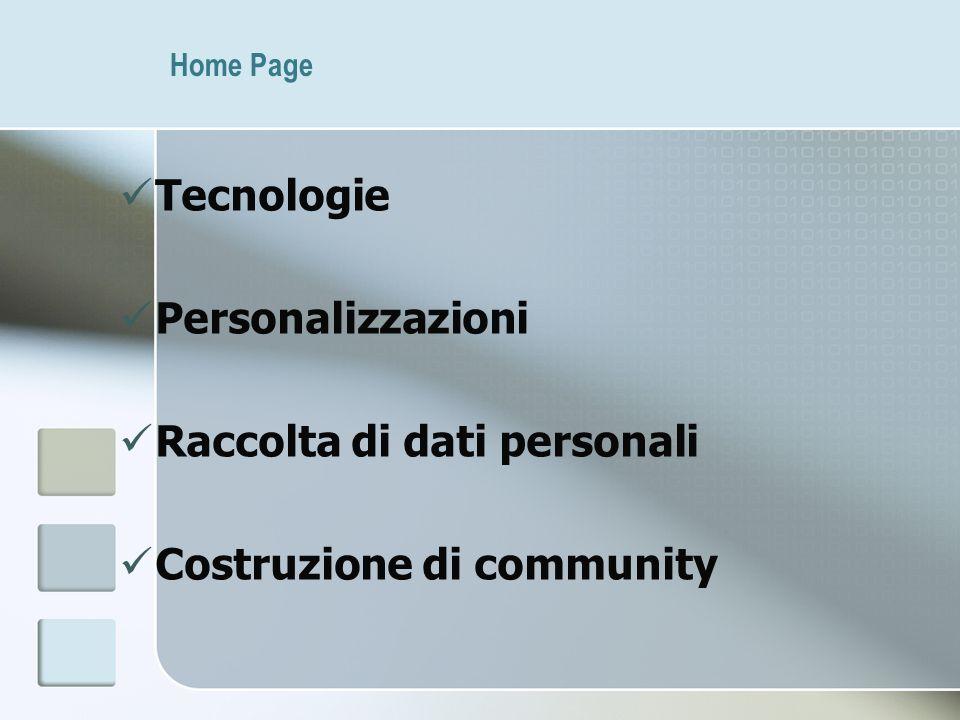 Home Page Tecnologie Personalizzazioni Raccolta di dati personali Costruzione di community