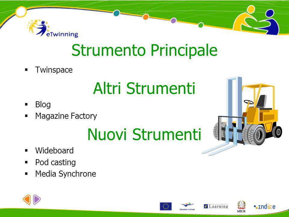 Strumento Principale Twinspace Altri Strumenti Blog Magazine Factory Nuovi Strumenti Wideboard Pod casting Media Synchrone