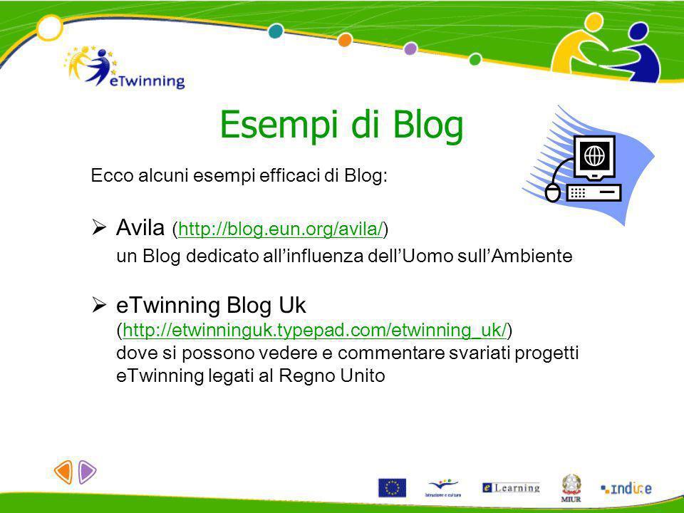 Esempi di Blog Ecco alcuni esempi efficaci di Blog: Avila (http://blog.eun.org/avila/)http://blog.eun.org/avila/ un Blog dedicato allinfluenza dellUom
