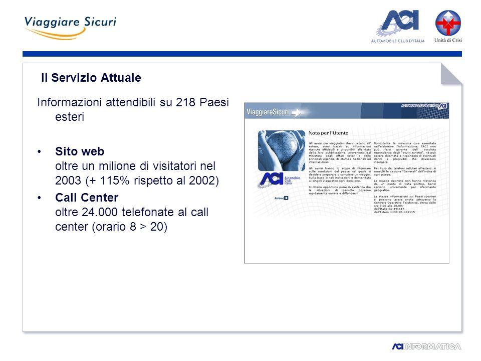 Il Servizio Attuale Informazioni attendibili su 218 Paesi esteri Sito web oltre un milione di visitatori nel 2003 (+ 115% rispetto al 2002) Call Center oltre 24.000 telefonate al call center (orario 8 > 20)