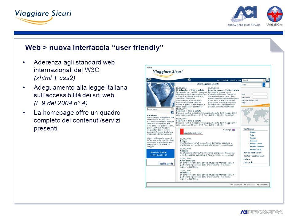 Web > area riservata – nuovi servizi interattivi Aggiornamenti sui paesi di interesse via e-mail e sms Assistenza tecnica agli utenti registrati
