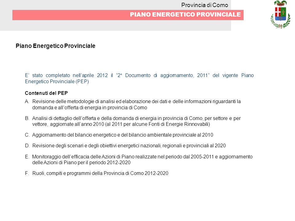 Provincia di Como PIANO ENERGETICO PROVINCIALE Piano Energetico Provinciale E stato completato nellaprile 2012 il 2° Documento di aggiornamento, 2011