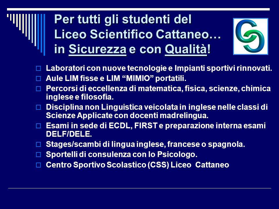 Le nostre 4 opzioni formative: la continuità per il miglioramento… Liceo Scientifico Nuovo Ordinamento (LSO) Liceo Scienze Applicate con Conversazione