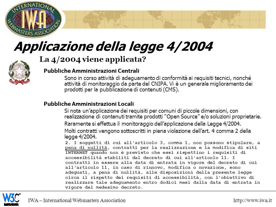 IWA – International Webmasters Association http://www.iwa.it Applicazione della legge 4/2004 La 4/2004 viene applicata.